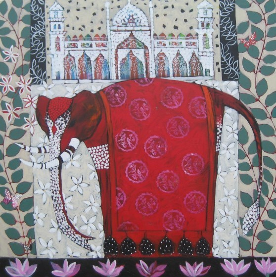 Red Elephant IV by Relton Marine at the Saffron Walden Gallery