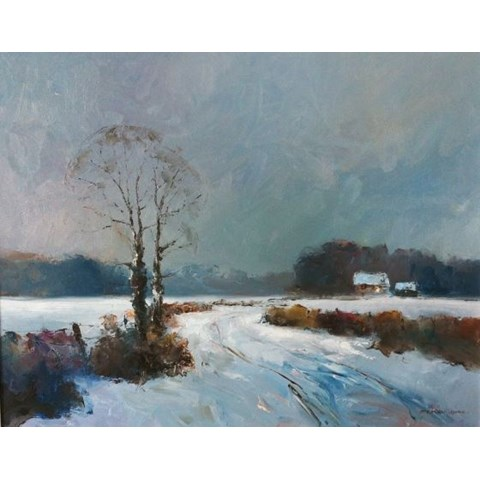 Norfolk Winter Evening by Stephen James at the Saffron Walden Gallery