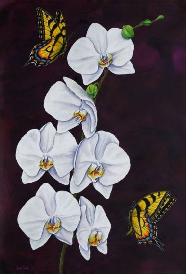 Tiger Swallowtails & Moth Orchid II by Keith Siddle at the Saffron Walden Gallery