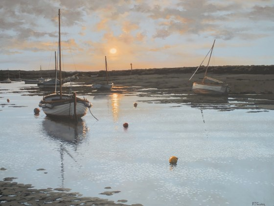 Sunset, Burnham Overy Staithe by Paul J Gunn at the Saffron Walden Gallery