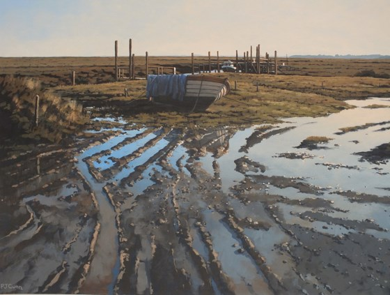 Mud & Reflections, Thornham Quay by Paul J Gunn at the Saffron Walden Gallery