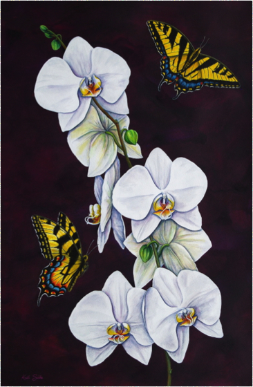 Tiger Swallowtails and Moth Orchid I