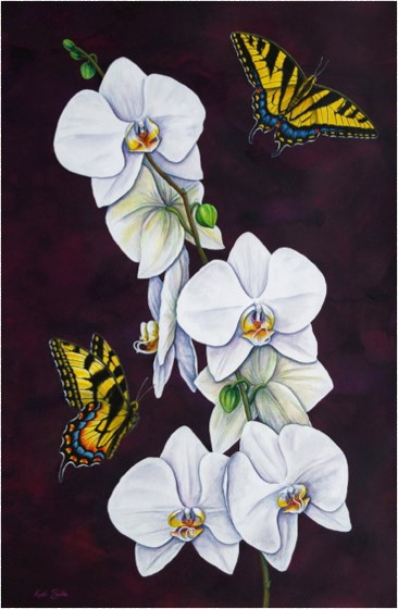 Tiger Swallowtails and Moth Orchid I by Keith Siddle at the Saffron Walden Gallery
