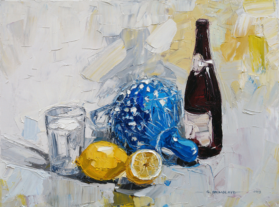 Still Life with Lemons and Shekere at the Saffron Walden Gallery