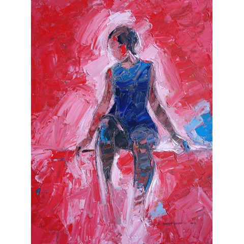 Figure with Red Background by Daniel Gbenga Orimoloye at the Saffron Walden Gallery