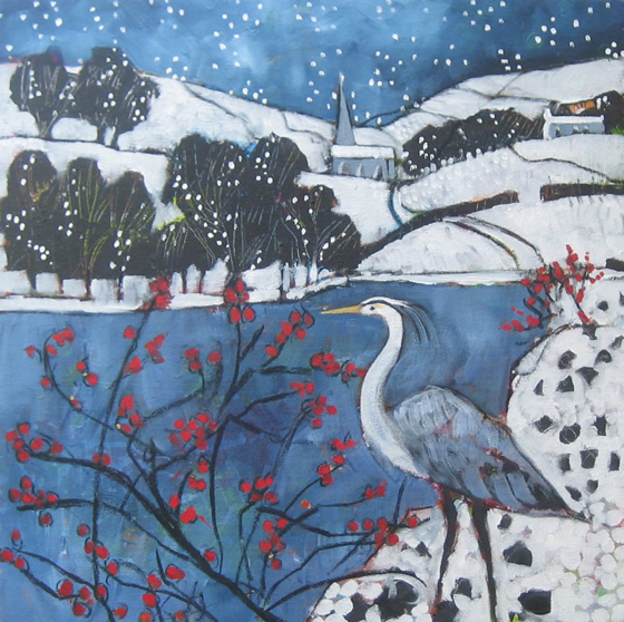 Heron at Blubberhouses II by Relton Marine at the Saffron Walden Gallery
