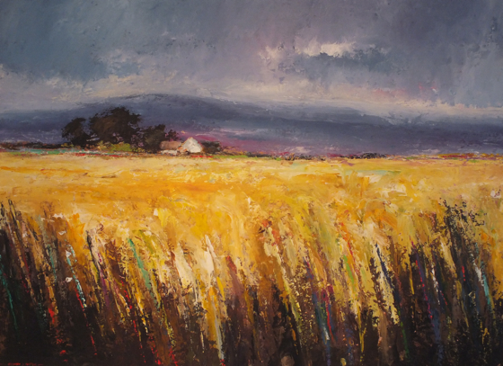 The Yellow Field towards The Gogs by Stephen James at the Saffron Walden Gallery