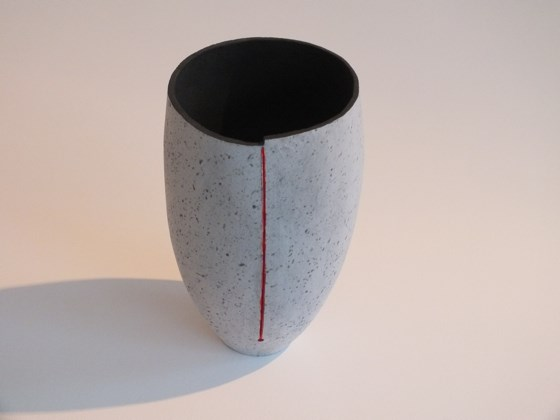 Red/Grey velvet glaze vase by Jane Hollidge at the Saffron Walden Gallery
