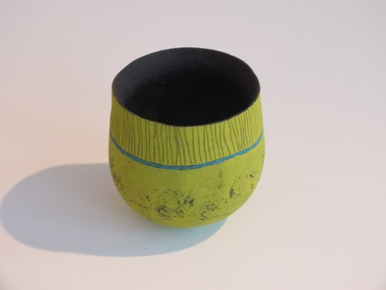 Green velvet glaze pot by Jane Hollidge at the Saffron Walden Gallery