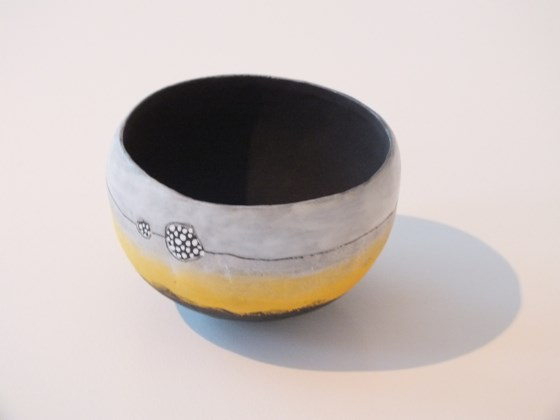 Velvet glaze pot by Jane Hollidge at the Saffron Walden Gallery