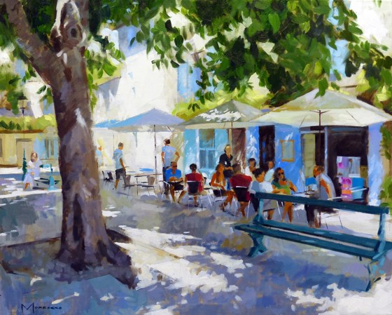 Shaded Cafe, St Remy de Provence by Jack Morrocco at the Saffron Walden Gallery