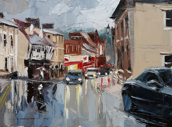High Street in the rain, Saffron Walden