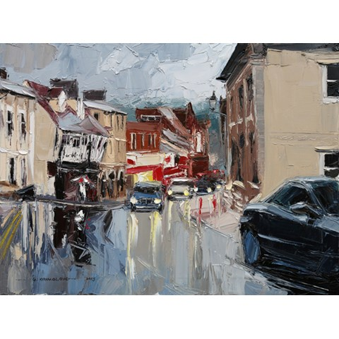 High Street in the rain, Saffron Walden by Daniel Gbenga Orimoloye at the Saffron Walden Gallery