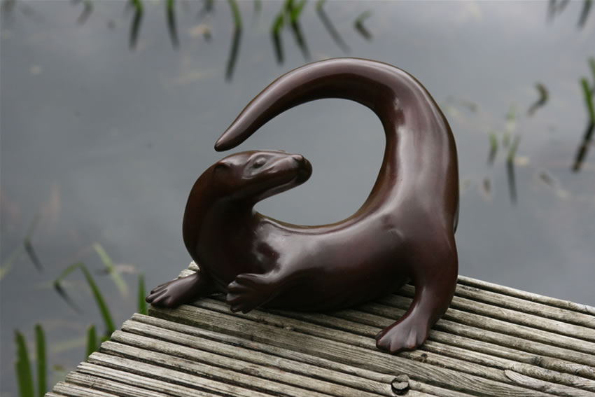 Playful Otter by Laurence Broderick at the Saffron Walden Gallery