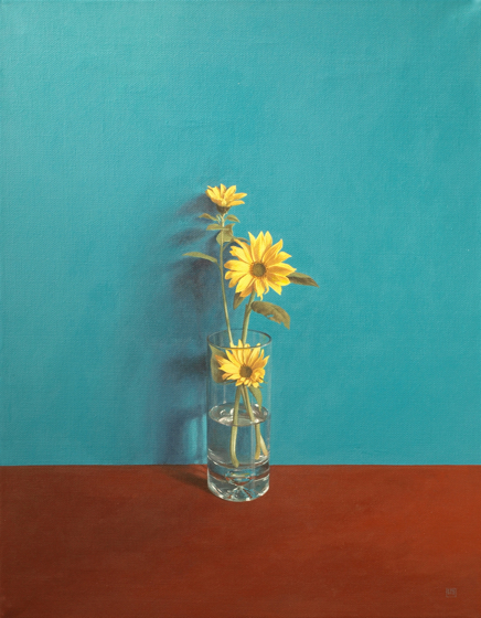 Small Sunflowers by David Paul Gleeson at the Saffron Walden Gallery
