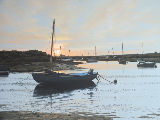 Sunset Over the Creek, Burnham Overy Staithe by Paul J Gunn at the Saffron Walden Gallery