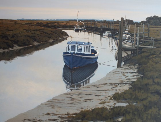 Morning Reflections, Thornham Quay by Paul J Gunn at the Saffron Walden Gallery