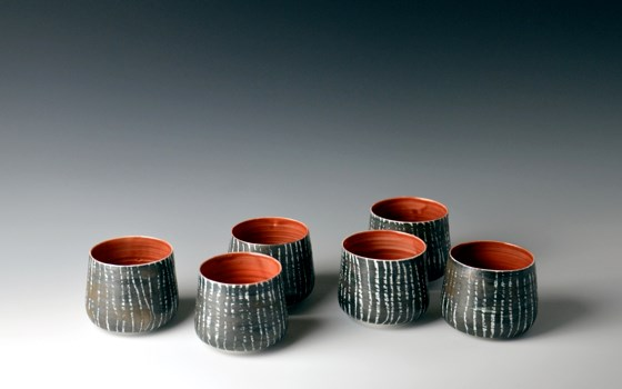 Moonlight Birch Series, red tea bowls by Katharina Klug at the Saffron Walden Gallery