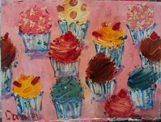 Pink Cupcakes by Deborah Donnelly at the Saffron Walden Gallery
