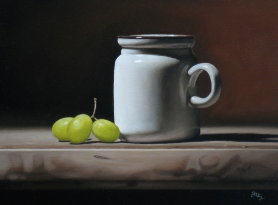 Still Life with Three Grapes by Anthony Ellis at the Saffron Walden Gallery