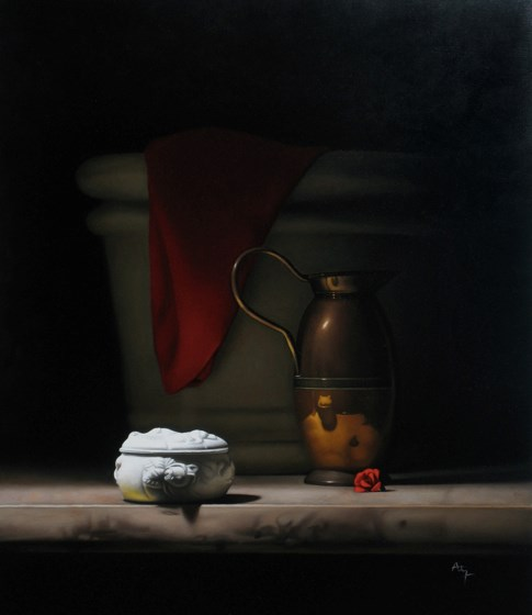 Still Life with Copper Vase by Anthony Ellis at the Saffron Walden Gallery