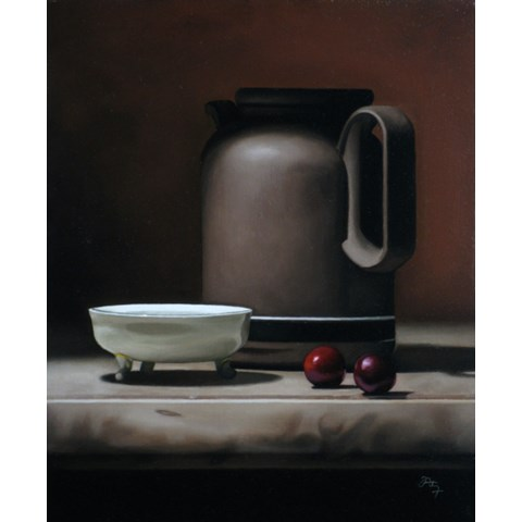 Still Life with Cherries by Anthony Ellis at the Saffron Walden Gallery