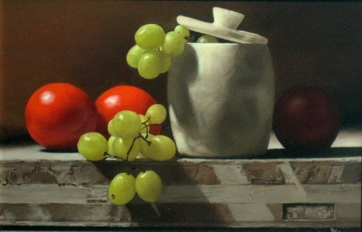 Still Life with Grapes and Tomatoes by Anthony Ellis at the Saffron Walden Gallery