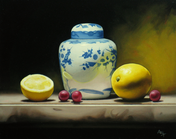 Still Life with Ceramic Vase and Lemons