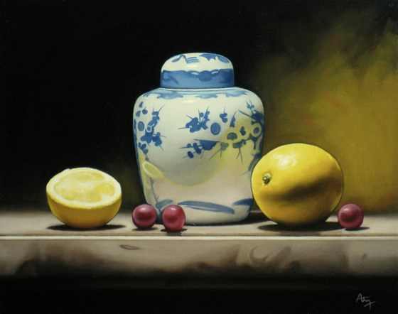 Still Life with Ceramic Vase and Lemons by Anthony Ellis at the Saffron Walden Gallery