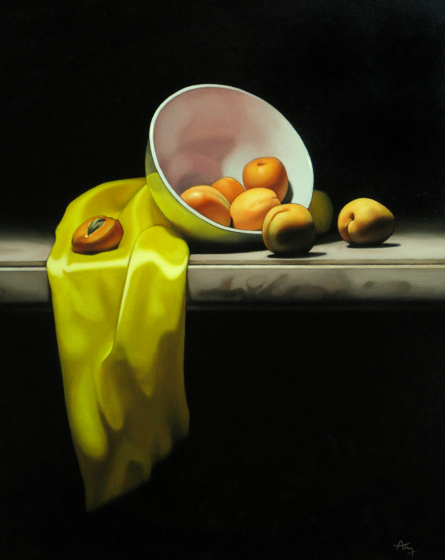 Still Life with Apricots by Anthony Ellis at the Saffron Walden Gallery
