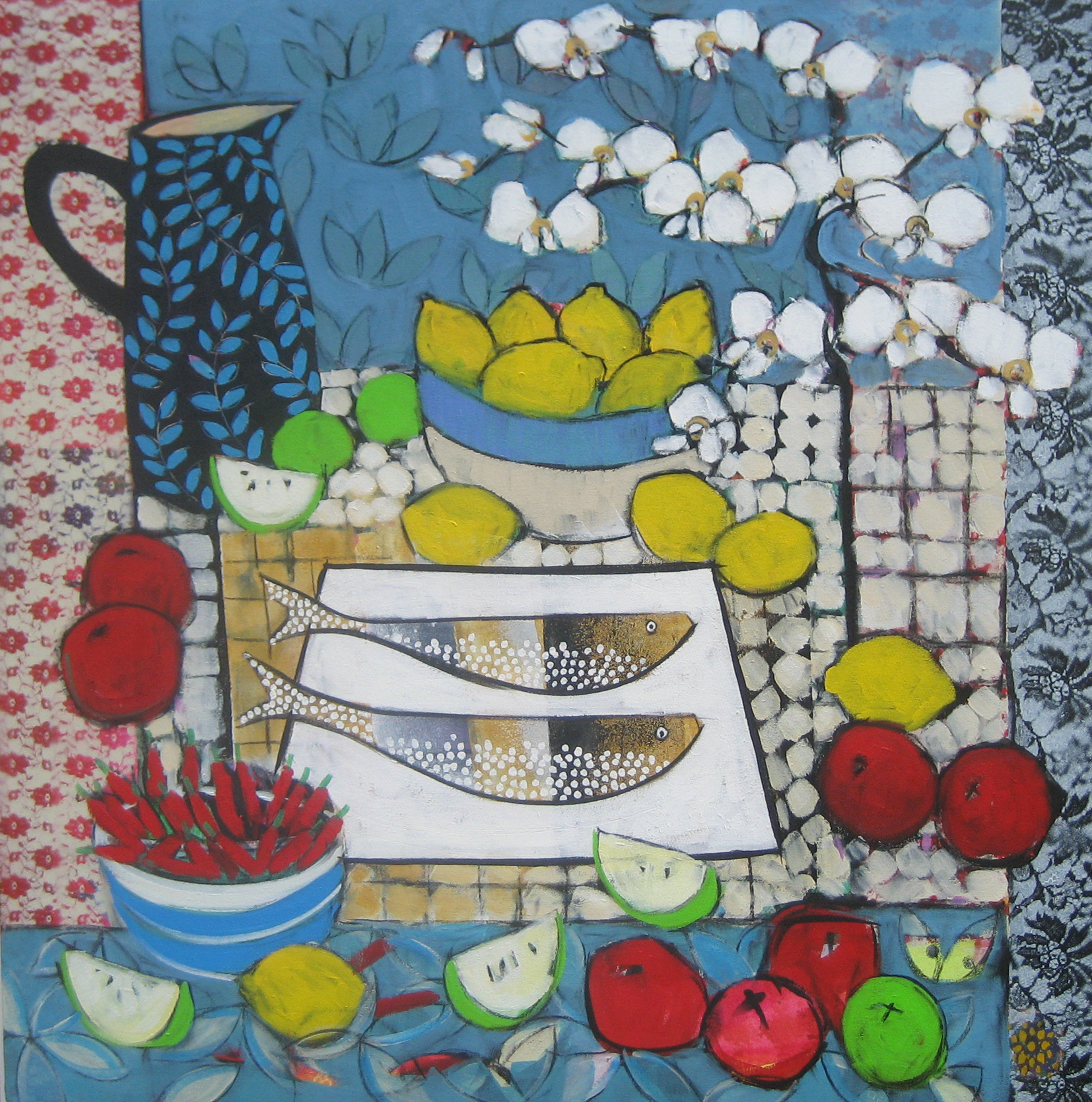 Still Life with Indian Fabric by Relton Marine at the Saffron Walden Gallery
