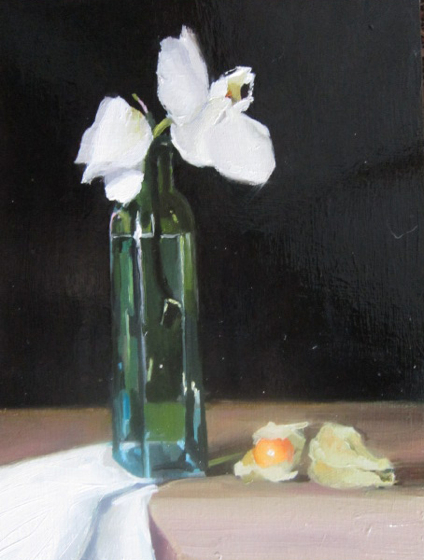 Orchid, Green Bottle & Physalis by Liz Balkwill at the Saffron Walden Gallery