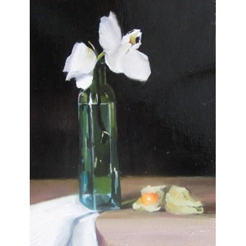 Orchid, Green Bottle & Physalis by  at the Saffron Walden Gallery