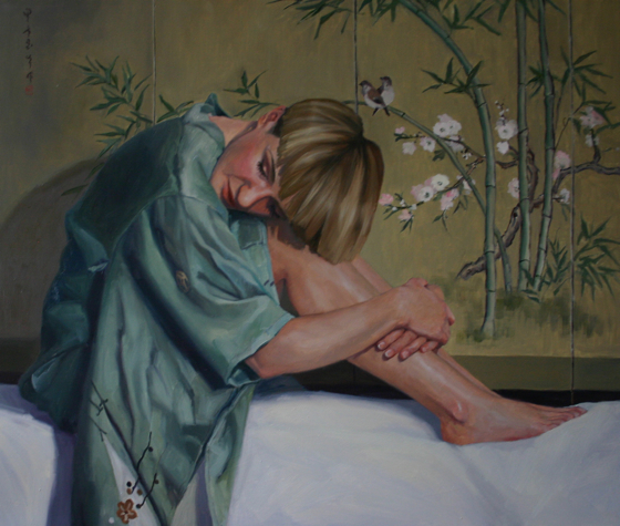 Girl in the Green Kimono by Liz Balkwill at the Saffron Walden Gallery