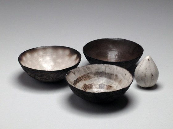 Nest of Three Vessels with Seed by Karen Banks at the Saffron Walden Gallery