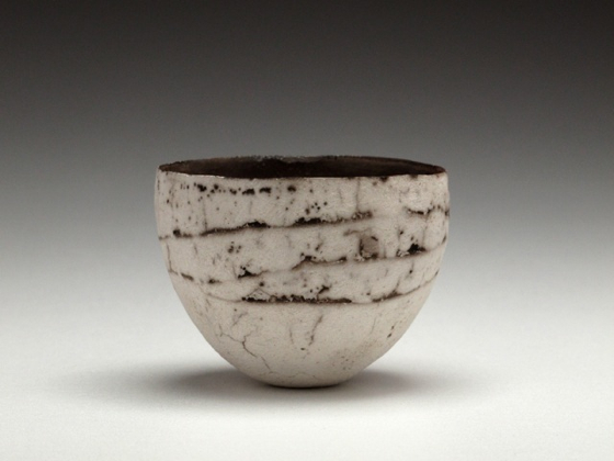 Small Lined White Vessel by Karen Banks at the Saffron Walden Gallery