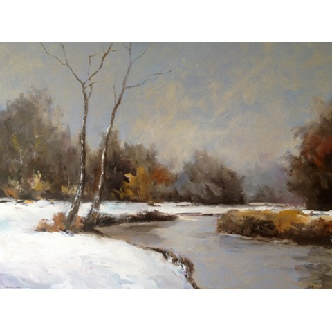 Snowy Grantchester Meadows by Stephen James at the Saffron Walden Gallery
