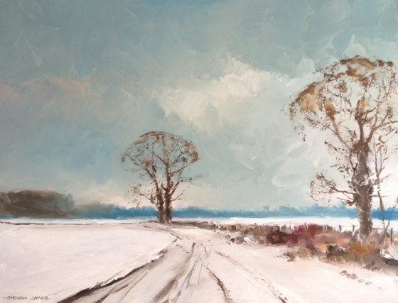 Snowy Track Towards Debden by Stephen James at the Saffron Walden Gallery