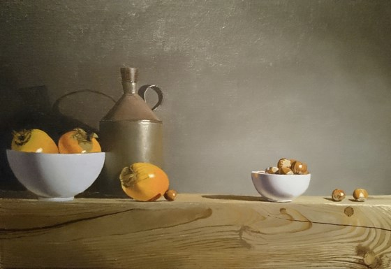 Sharon Fruit and Hazelnuts by Robert Walker at the Saffron Walden Gallery