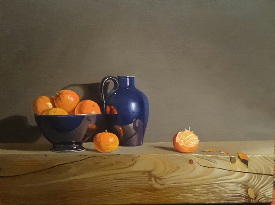Blue Porcelain and Clementines by Robert Walker at the Saffron Walden Gallery