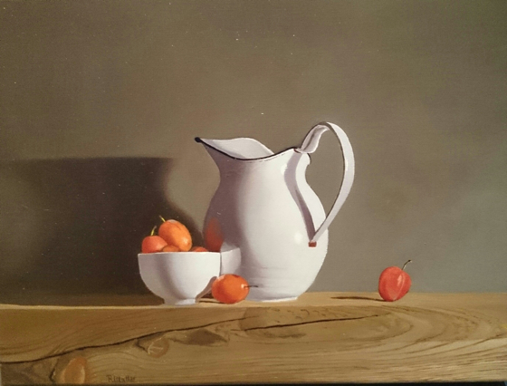 White Jug and Plums