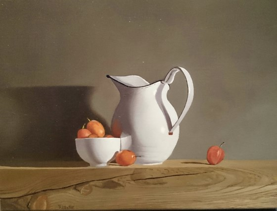 White Jug and Plums by Robert Walker at the Saffron Walden Gallery