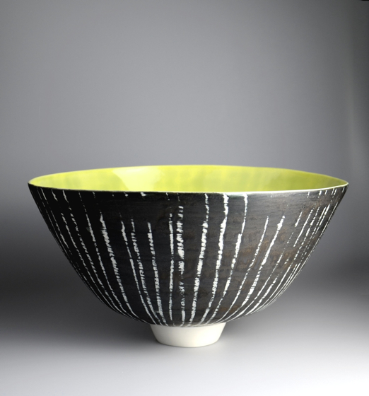 Moonlite Birch Series, Large Footed Bowl, Yellow