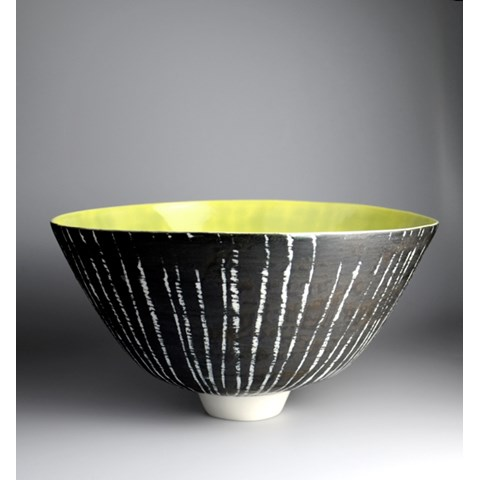 Moonlite Birch Series, Large Footed Bowl, Yellow by Katharina Klug at the Saffron Walden Gallery