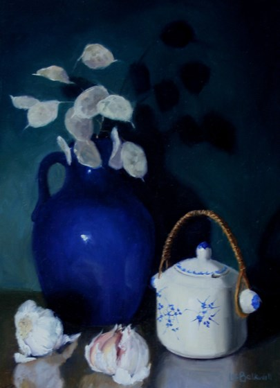Chinese Pot and Honesty by Liz Balkwill at the Saffron Walden Gallery