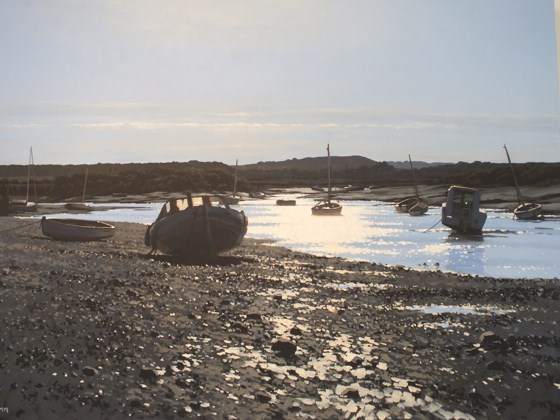Sun on Burnham Overy Creek by Paul J Gunn at the Saffron Walden Gallery