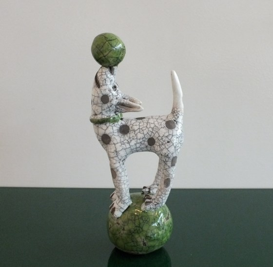 Dog on a Green Ball by Demelza Whitley at the Saffron Walden Gallery