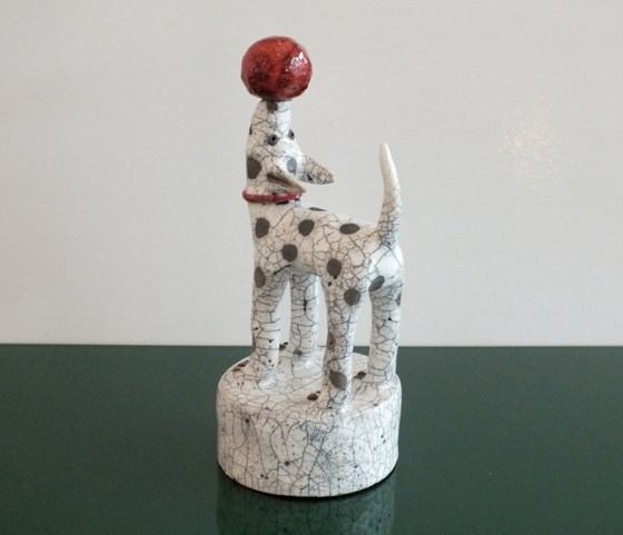 Dog and a Red Ball by Demelza Whitley at the Saffron Walden Gallery