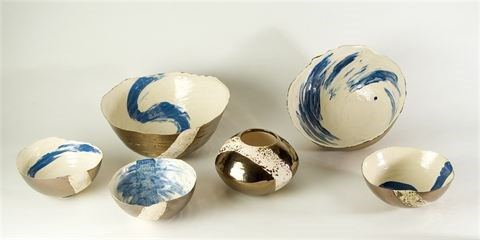 Coiled earthenware bowls by Tracy Ford at the Saffron Walden Gallery