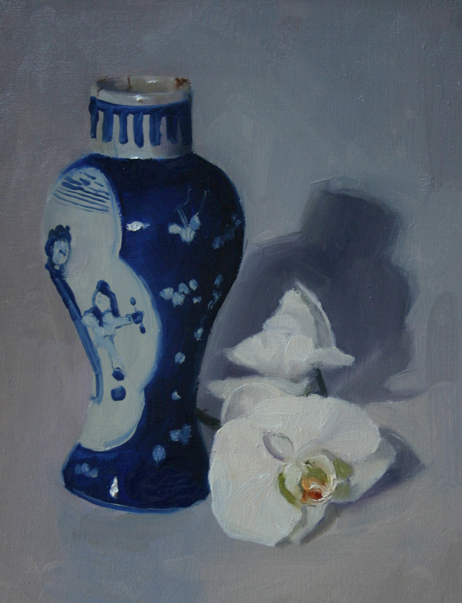 Japanese vase with orchid